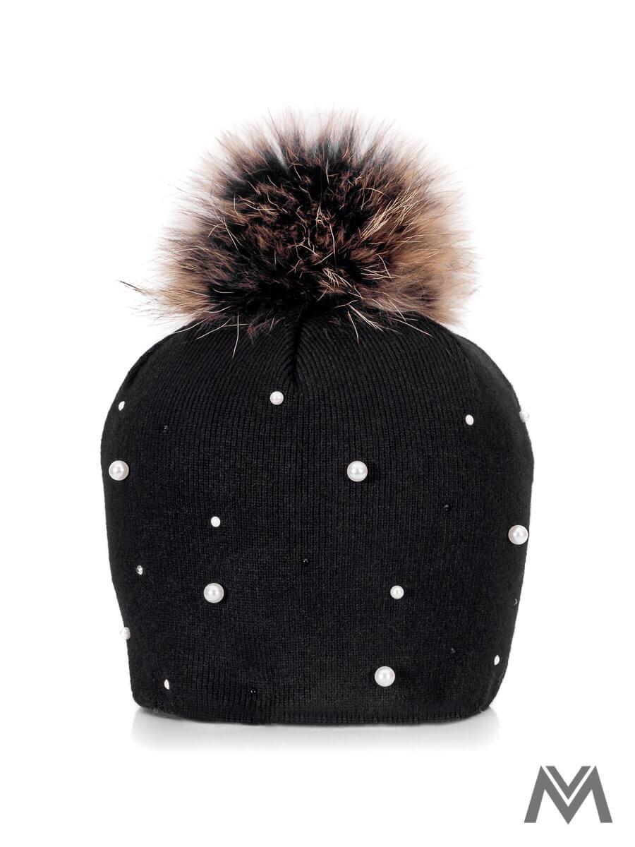 af35a5458 Dievčenská čiapka s pravým brmbolcom čierna s perla |ModneVeci.sk