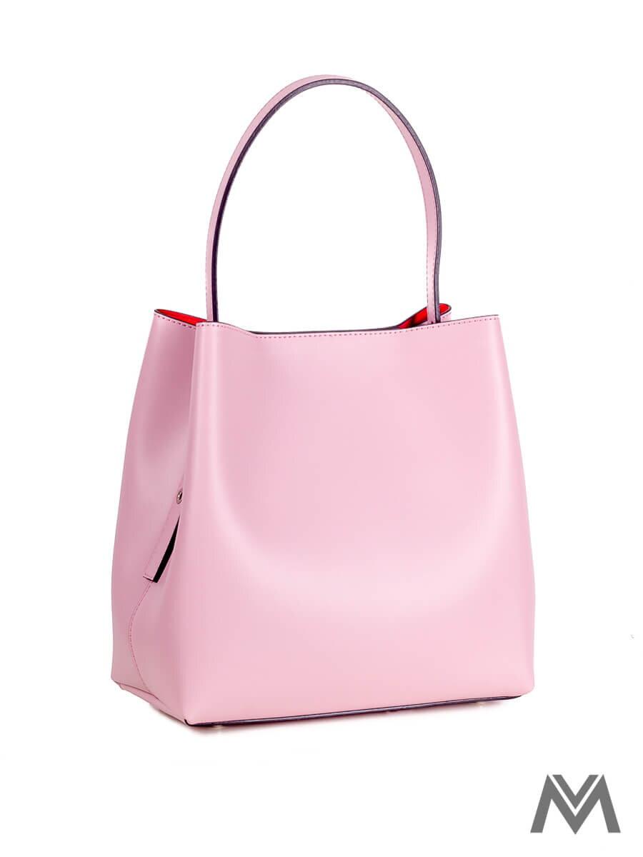 Dámska kožená kabelka S0669 ružová s červeným vnútrom  6fe7ef0d736