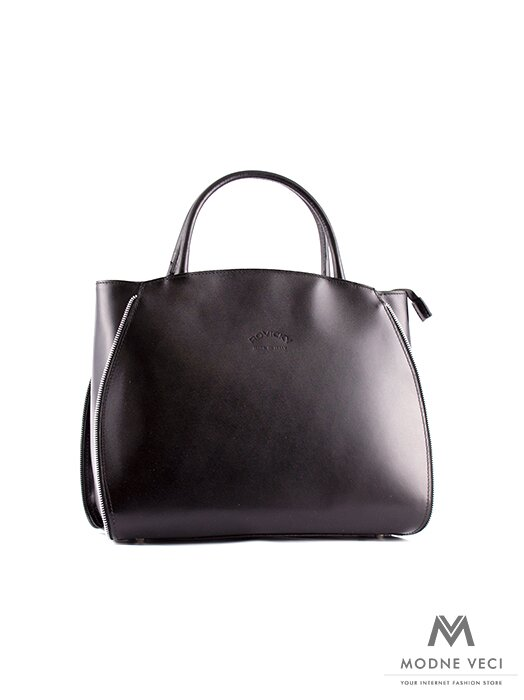 Krásna elegantná kabelka v čiernej farbe s pevnými rúčkami