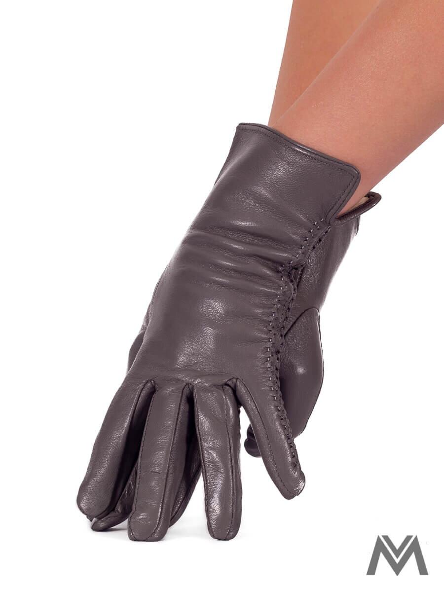 da894e661 Dámske kožené rukavice sivé s prešívaním | ModneVeci.sk