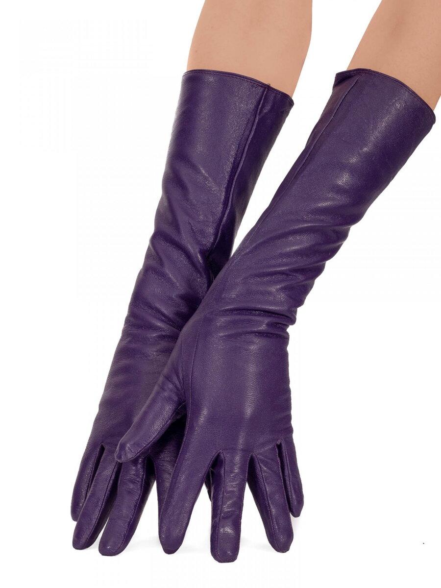 0e81befe172 Dámské kožené rukavice dlouhé 40 cm - fialové