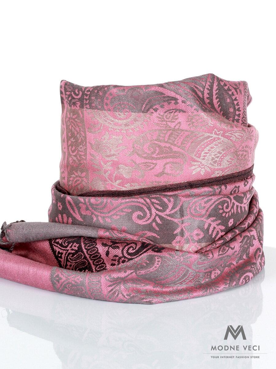 b074a7c90ce4 Dámska pašmínová šatka sivo-ružová