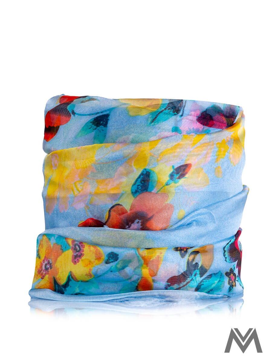 17fb57e981fc Hodvábna šatka H24 modrá s kvetinovým vzorom