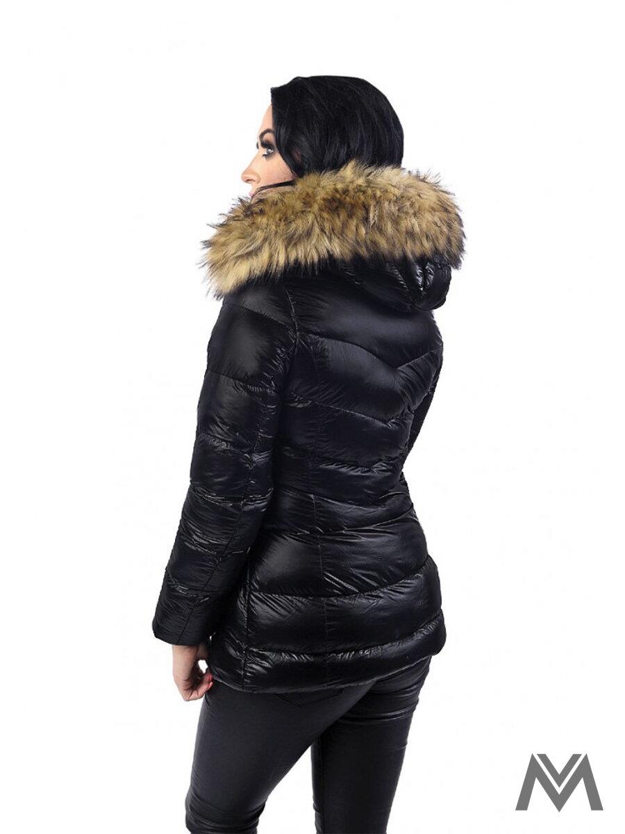 Dámska zimná bunda čierna BK-204A matná  4f609537337