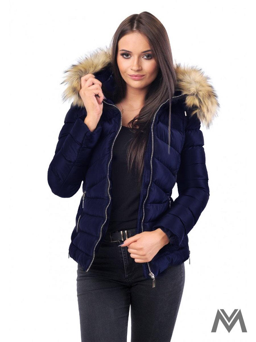 15ca8fe41e Dámska zimná bunda prešívaná tmavomodrá M-210A- matná