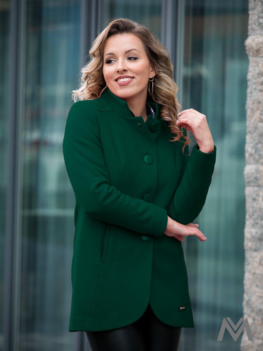 d7695cdfcd6d Elegantný dámsky kabát IGA zelený