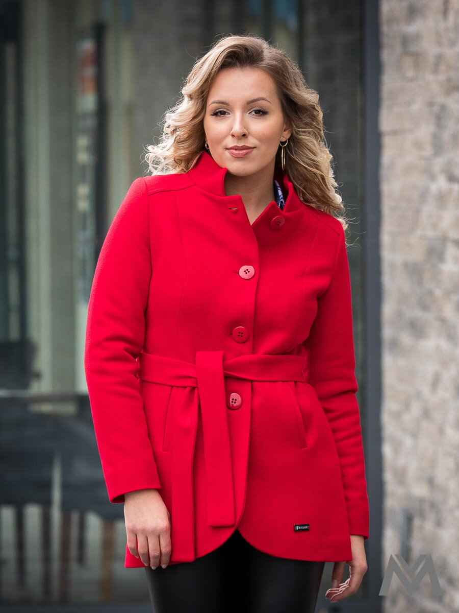 f252a9221f Luxusný dámsky kabát IGA- červený ...
