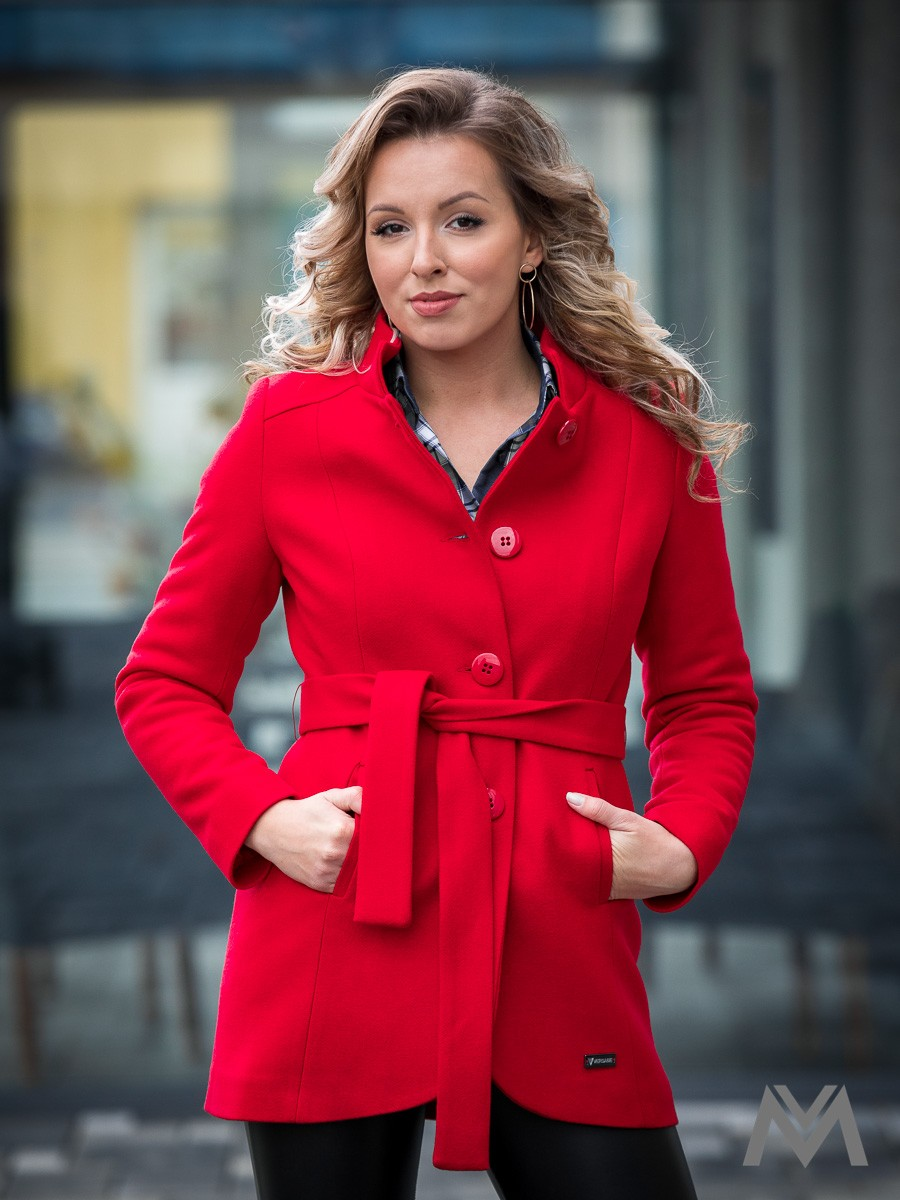 Luxusný dámsky kabát IGA- červený 78839c2116d