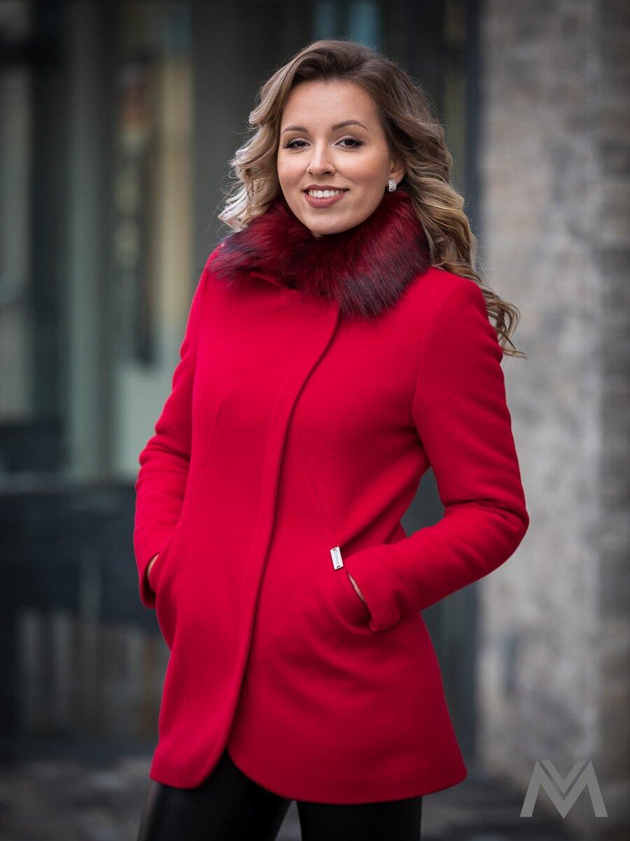 Dámsky elegantný kabát s kožušinkou DEYSI- červený 78b313c2143