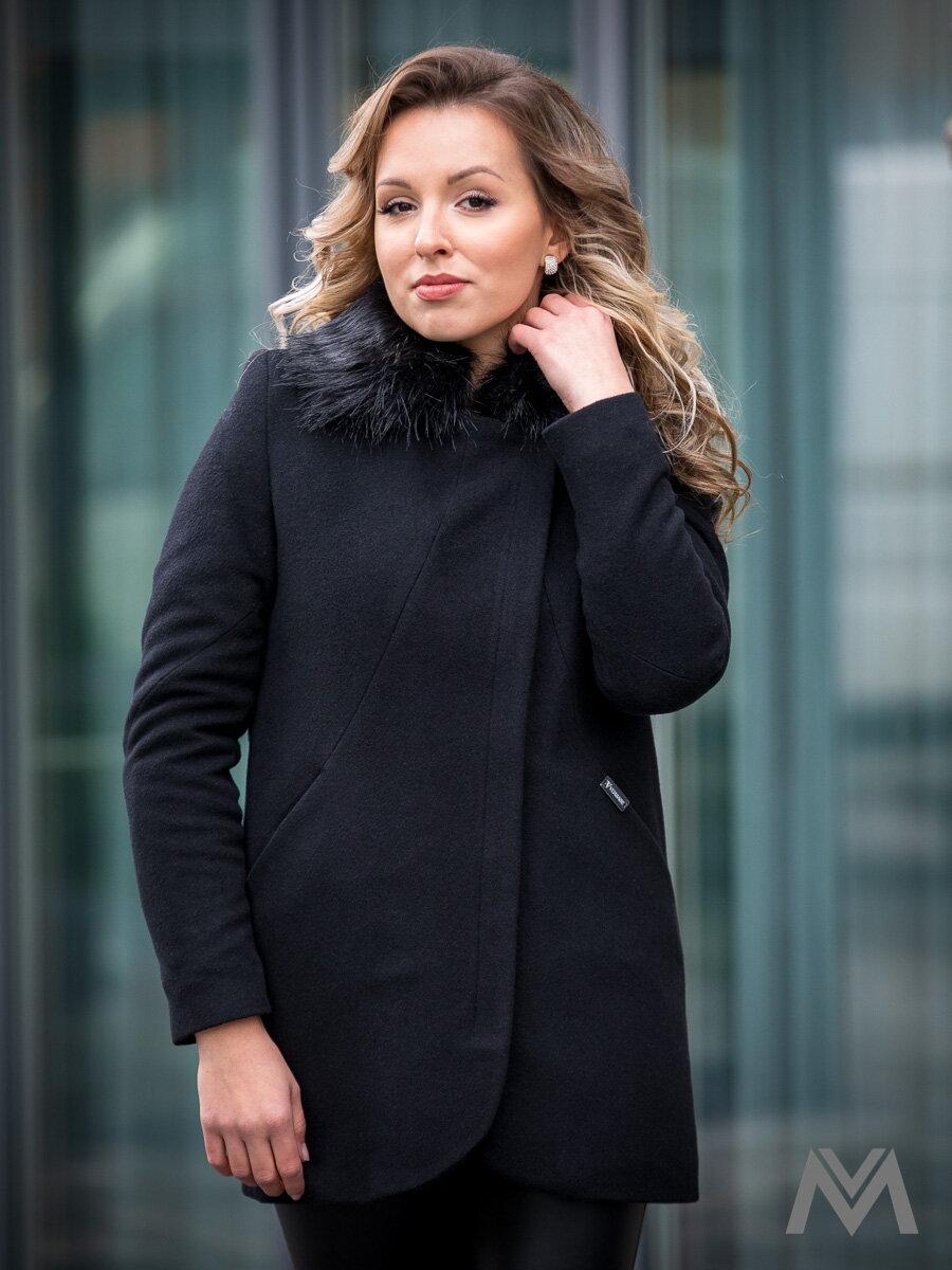 Luxusný dámsky kabát s kožušinkou DEYSI čierny  4df959b09c0