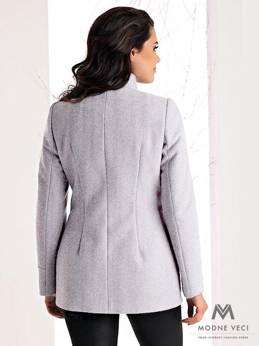 Luxusný krátky kabát OKSANA sivý melír ... ae55960fd75