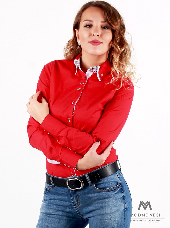 b813d3eb81c7 Červená dámska košeľa v slim fit strihu VS-DK 1734 ...