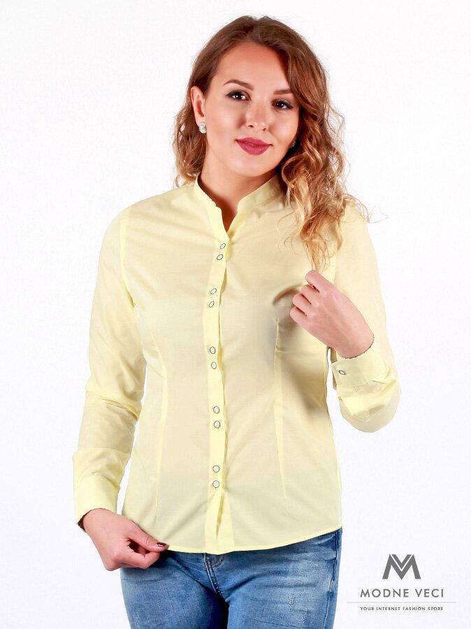 ad7a66f826da Luxusná žltá košeľa pre ženy s kvetovaným lemom VS-DK 1738