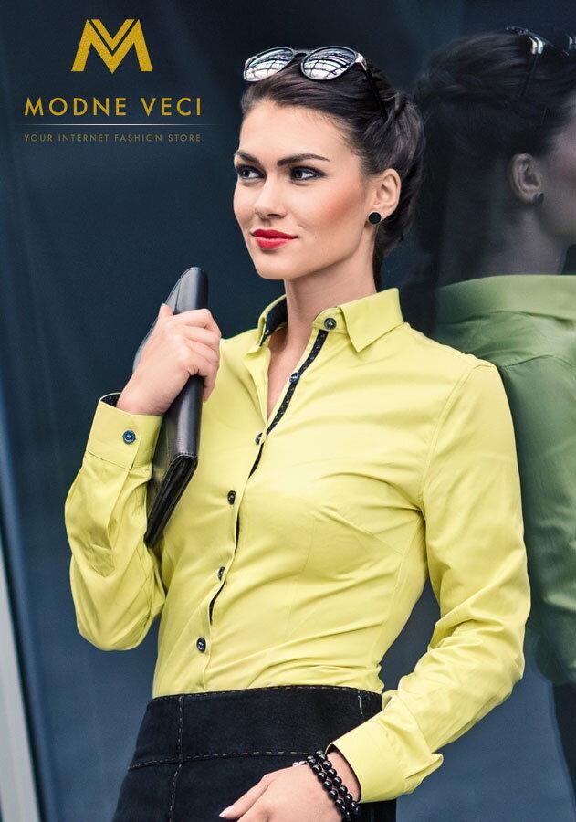 e3056655f0 Dámska košeľa žltá - Slim Fit KD62 - žltá