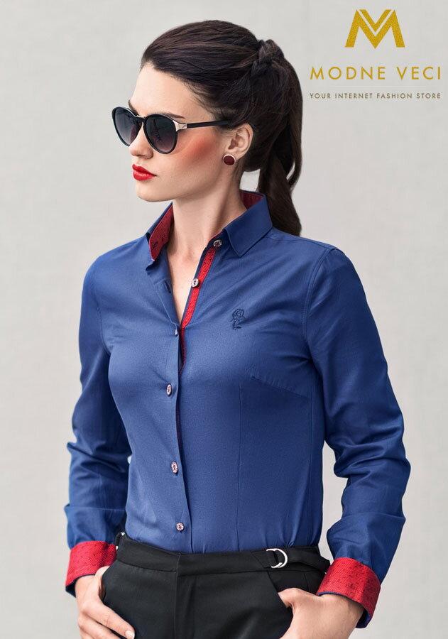f74e86825ed4 Dámska košeľa modro-červená - Slim Fit KD63