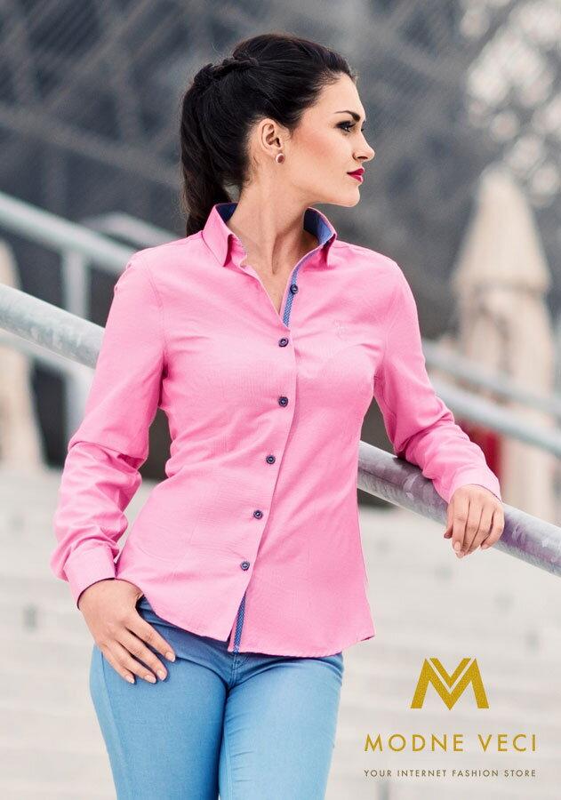 e8914c5747bc Dámska košeľa ružovo-modrá - Slim Fit KD66