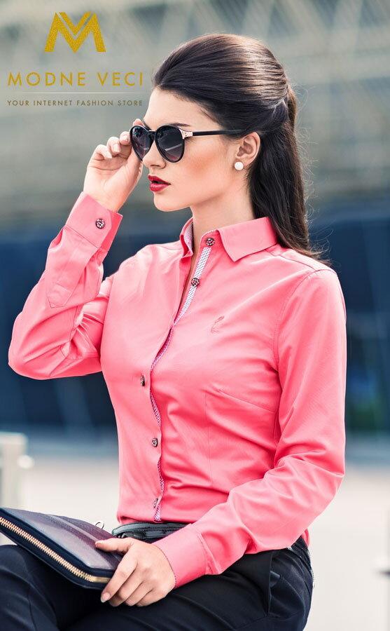 9b6909531de6 Dámska košeľa ružová - Slim Fit KD68