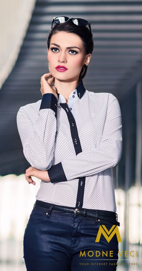 Dámska košeľa biela so vzorom - Slim Fit KD70 biela-vzor 9d0fd9fafd6