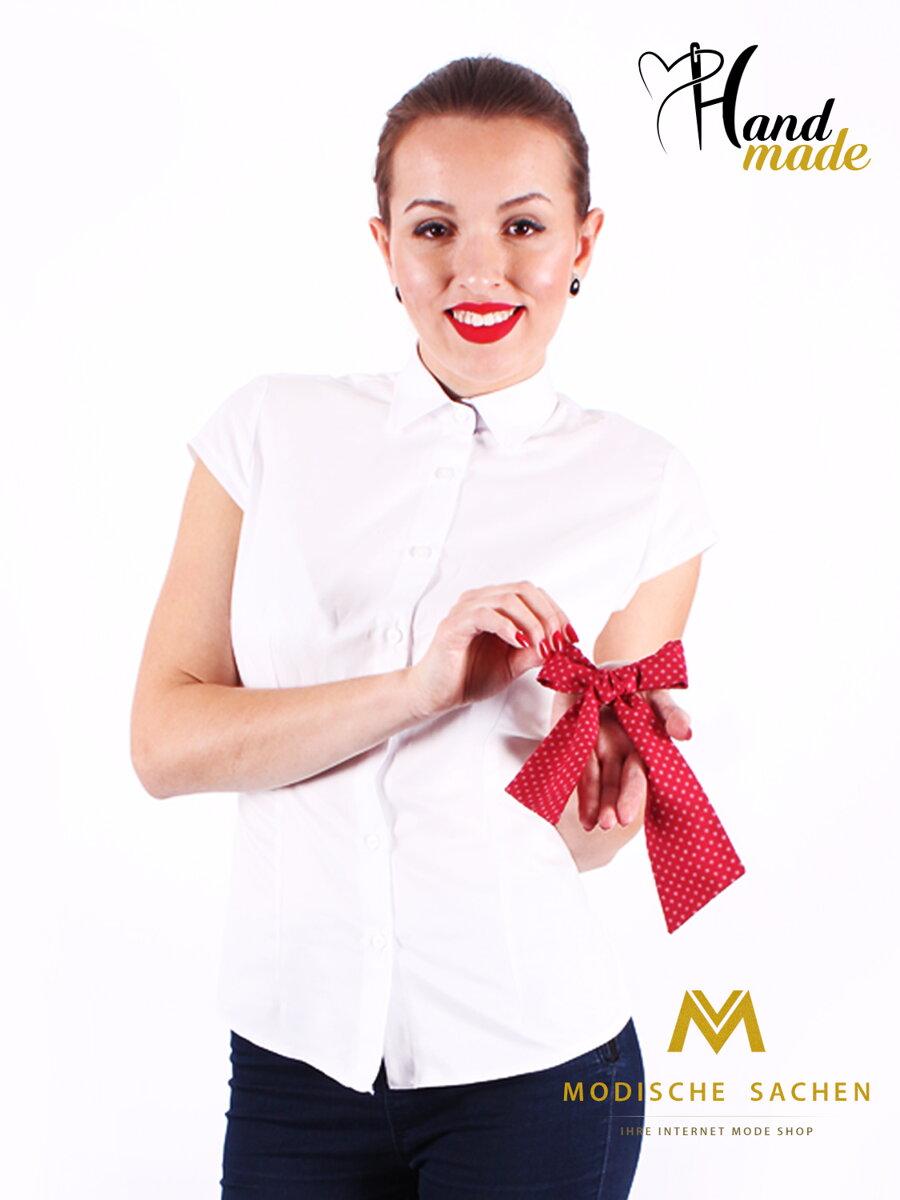 0f99ea9ffb08 Biela dámska košeľa s mašličkou Slim Fit VS-DK1721 - červená s bodkami ...