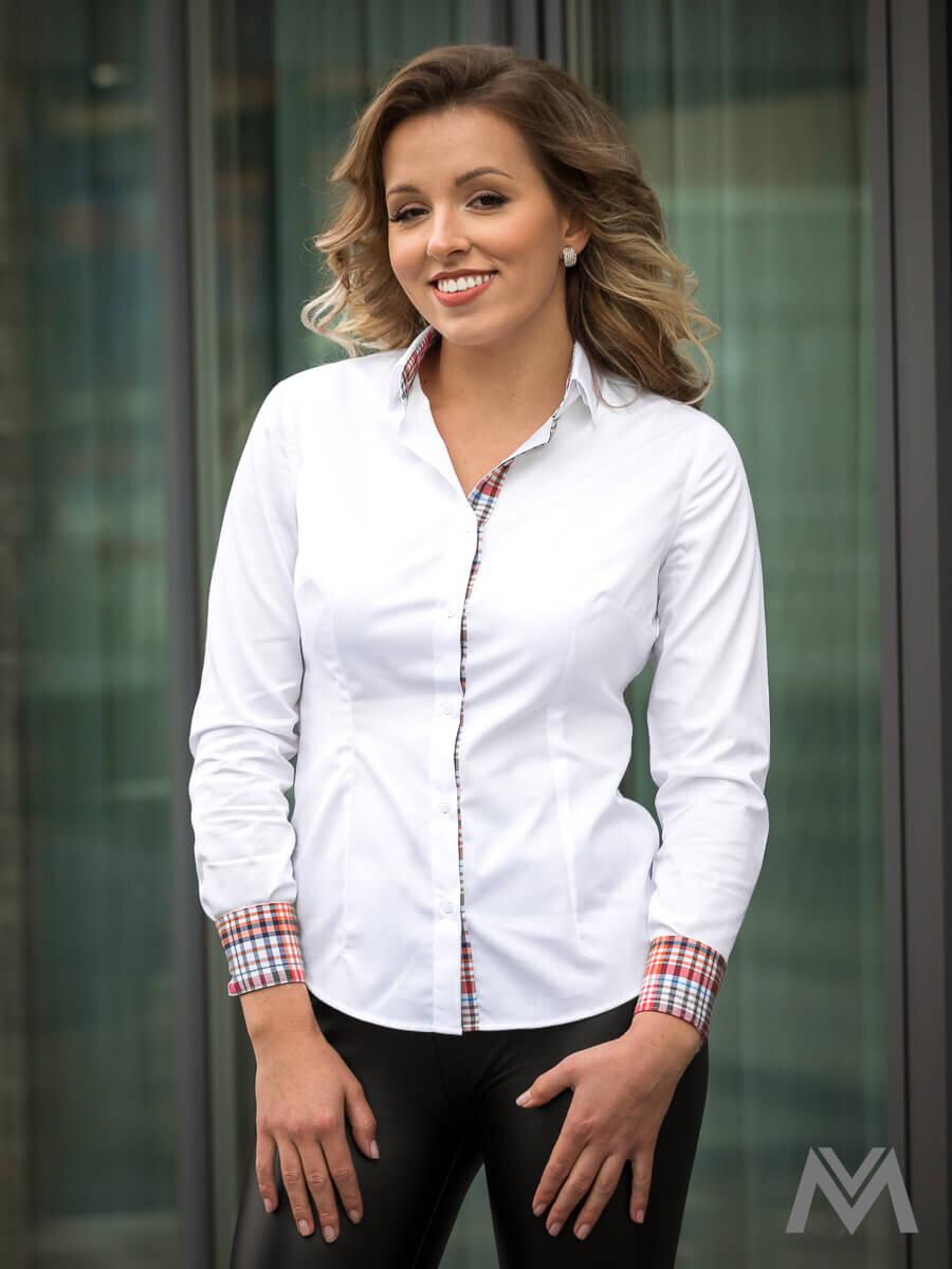 Biela dámska košeľa karo Slim Fit VS-DK1849 ... 9d13da52e3