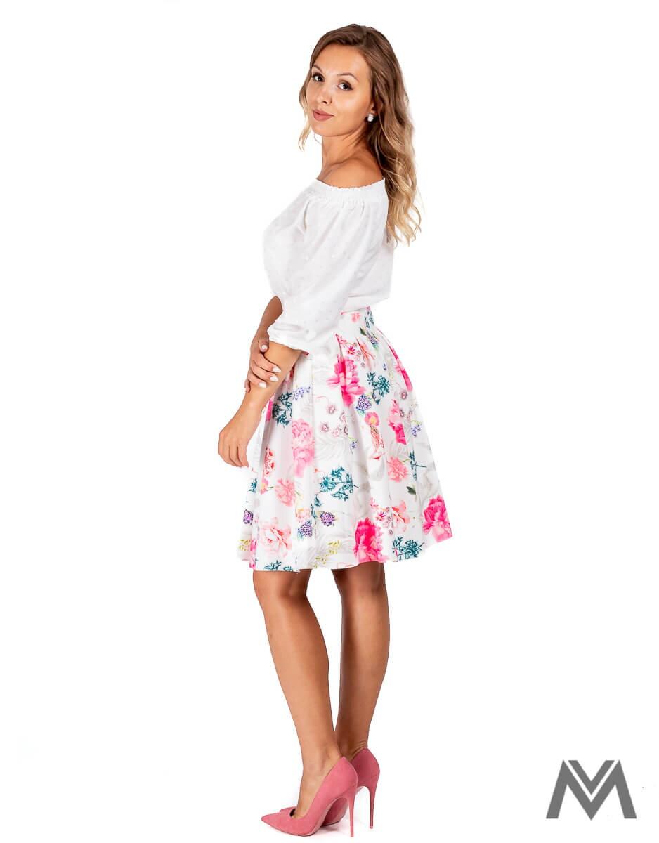a5af84b5cdcc Skladaná dámska sukňa biela s kvetinami ...