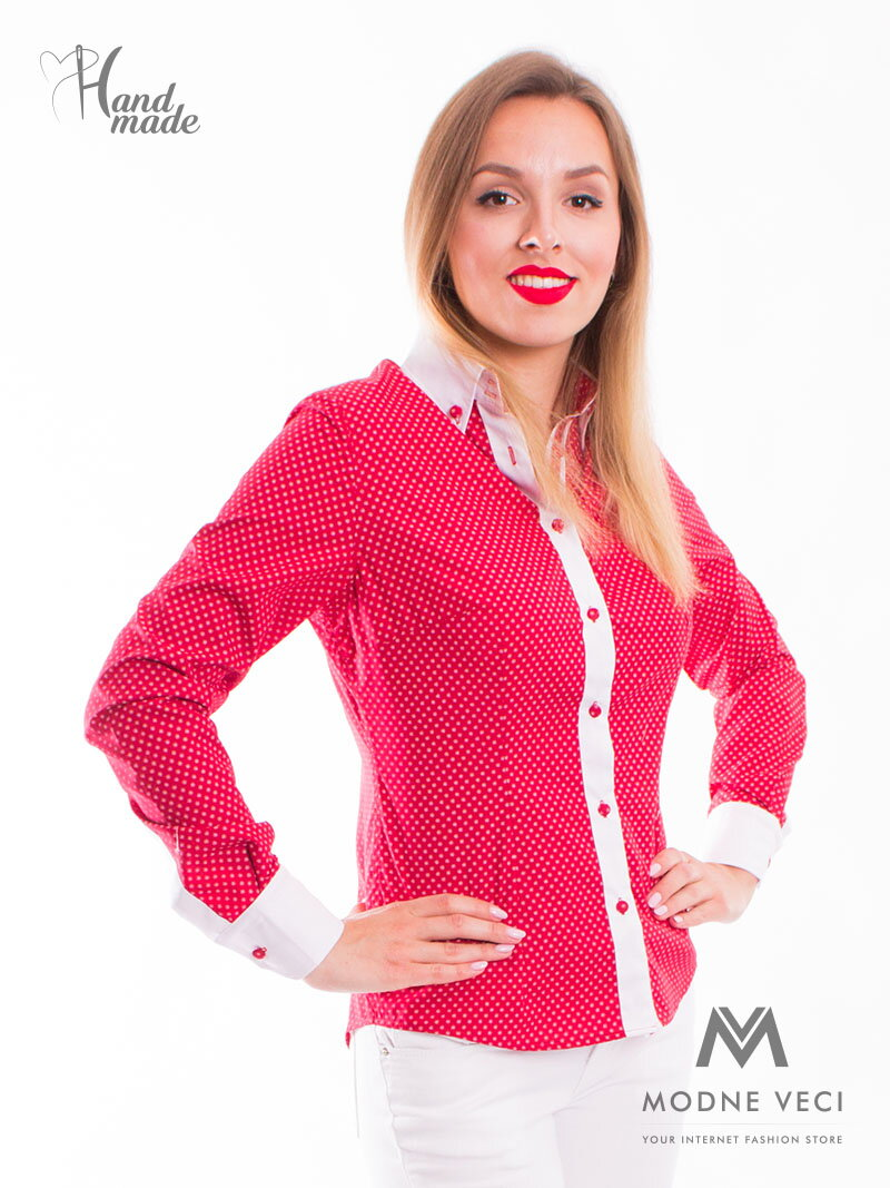 f0c4e75c2d4d Červená dámska košeľa - Slim Fit VS-DK1601 ...