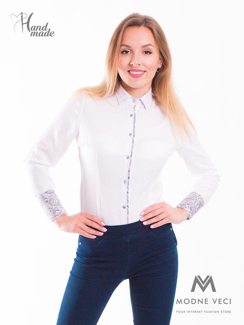 Biela dámska košeľa Slim Fit VS-DK1716 f9255040e39