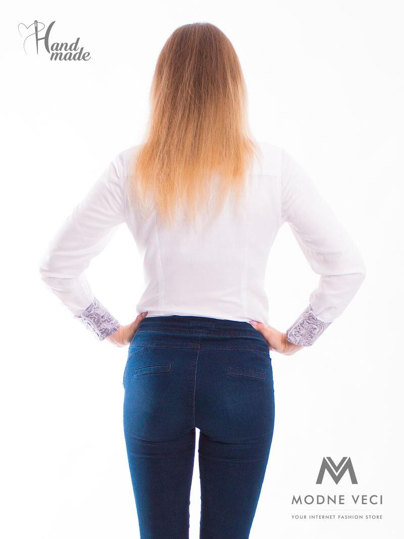 e96bfd6fa079 Biela dámska košeľa Slim Fit VS-DK1716 ...