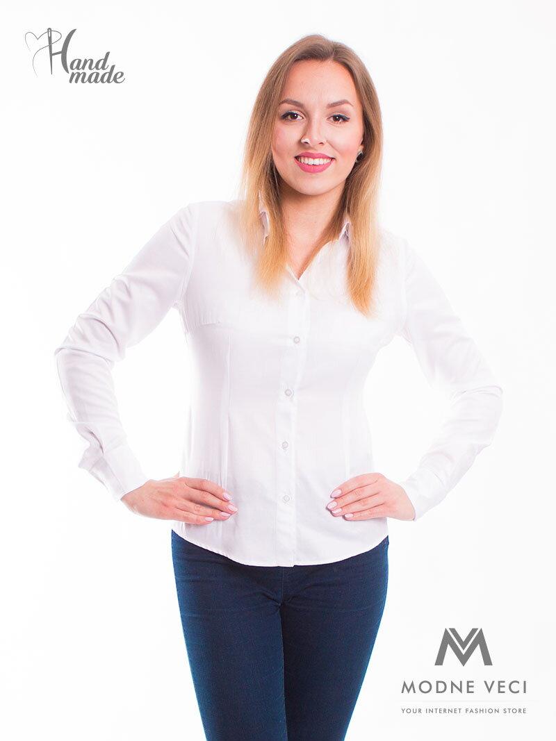 2a18b3ccfb8e Biela dámska košeľa Slim Fit VS-DK1728