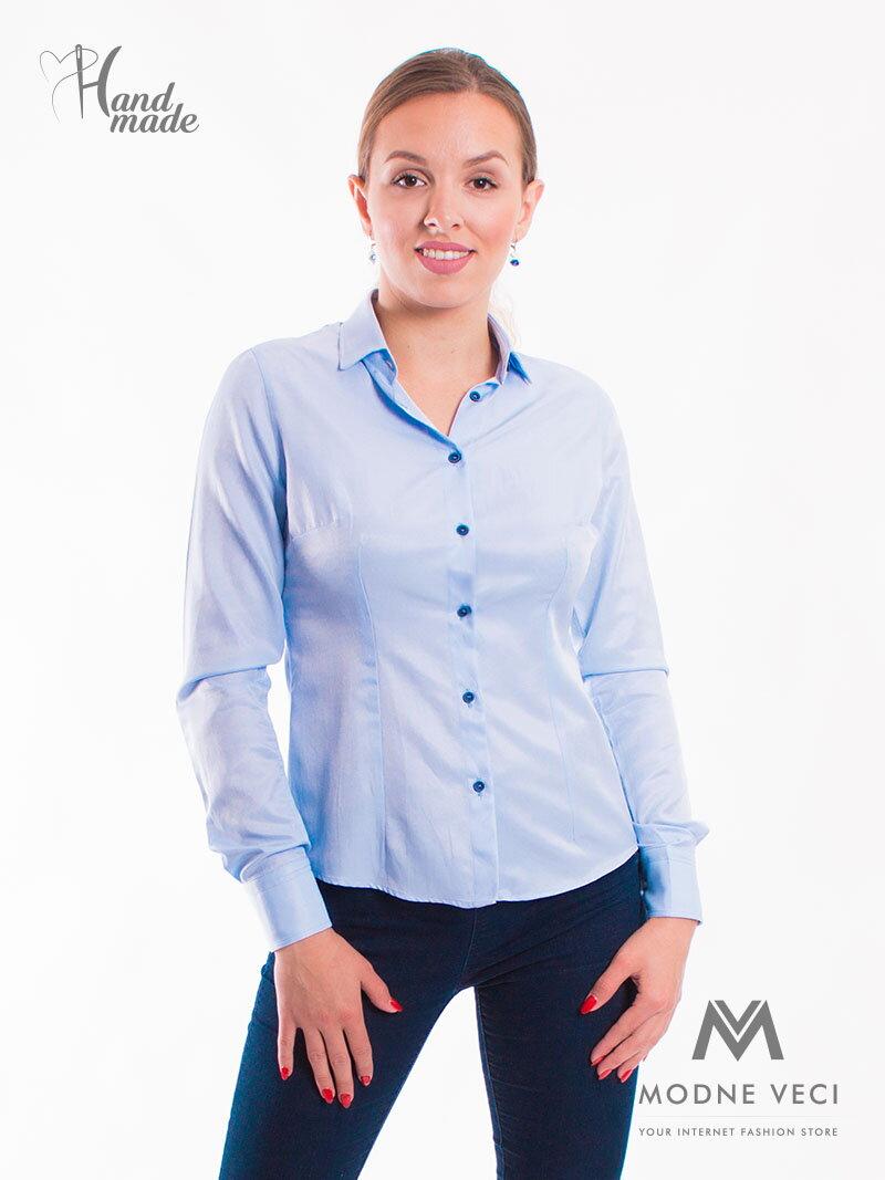 c0dc1dde80d4 Modrá dámska košeľa Slim-Fit VS-DK1732