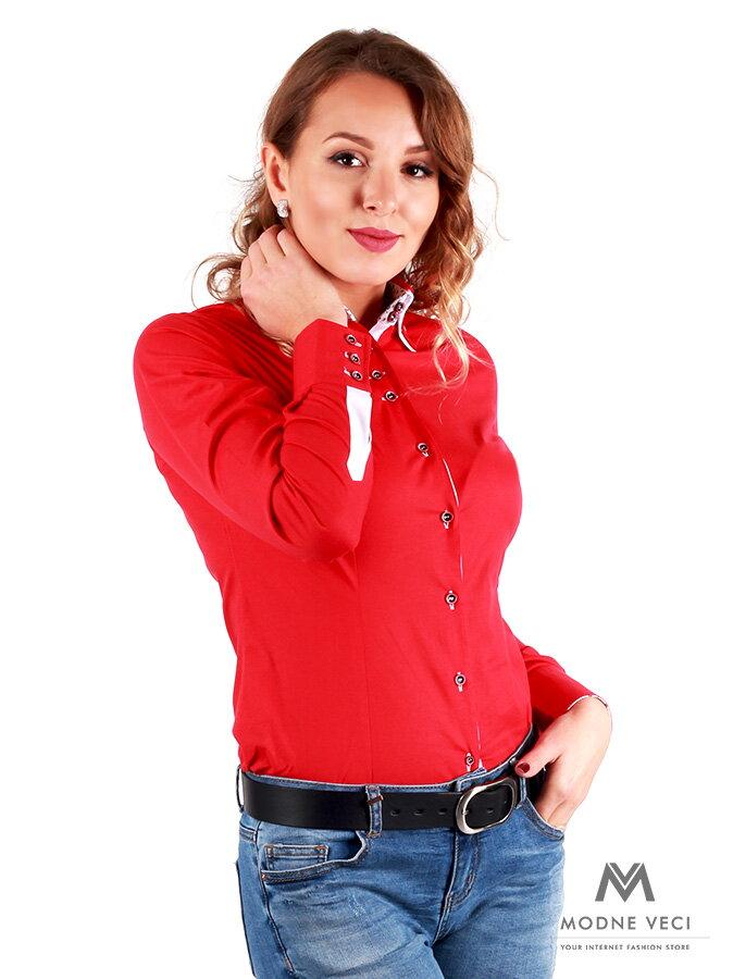 a1c720f26828 Červená dámska košeľa v slim fit strihu VS-DK 1734 ...