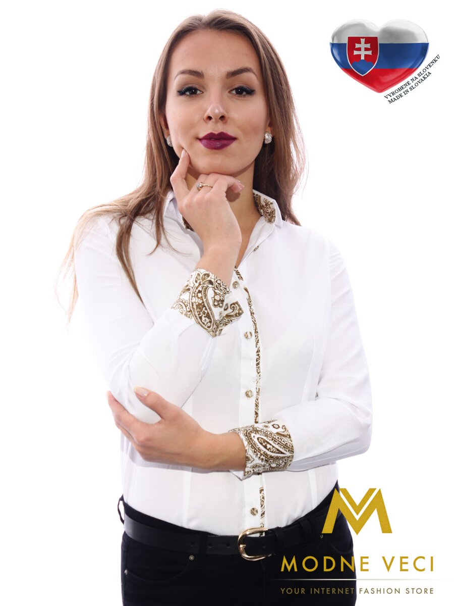 9296b26f9ed7 Biela dámska košeľa s vzorovaným lemom Slim-Fit VS-DK1609