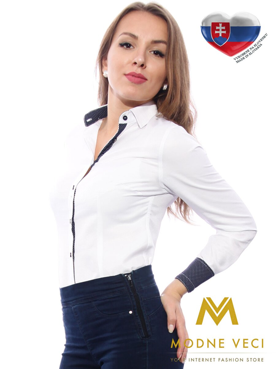abffe25175c3 Biela dámska košeľa s bodkovaným lemom Slim-Fit VS-DK1610