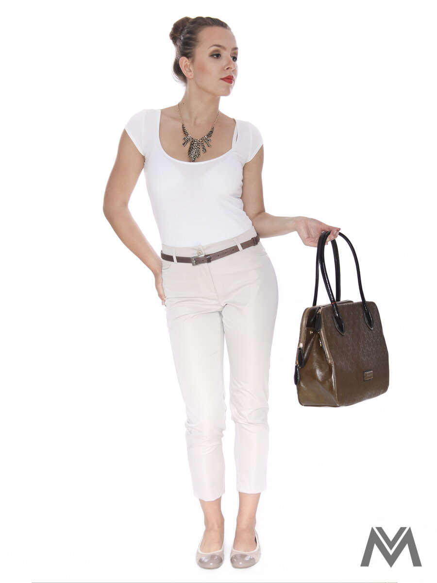 Elegantné dámske nohavice 7 8 krémové be62a98d9c8