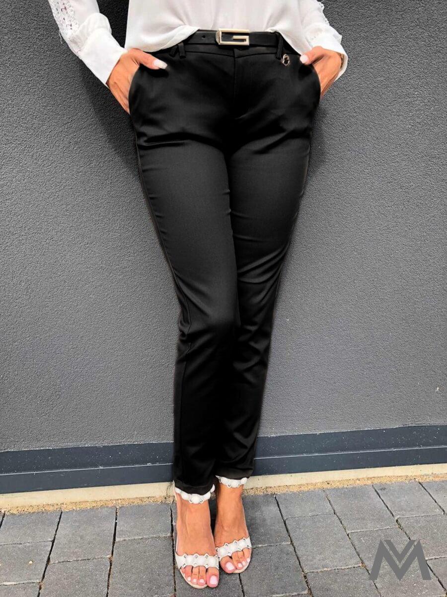 6c2f6a3730eb Elegantné dámske nohavice čierne H8920