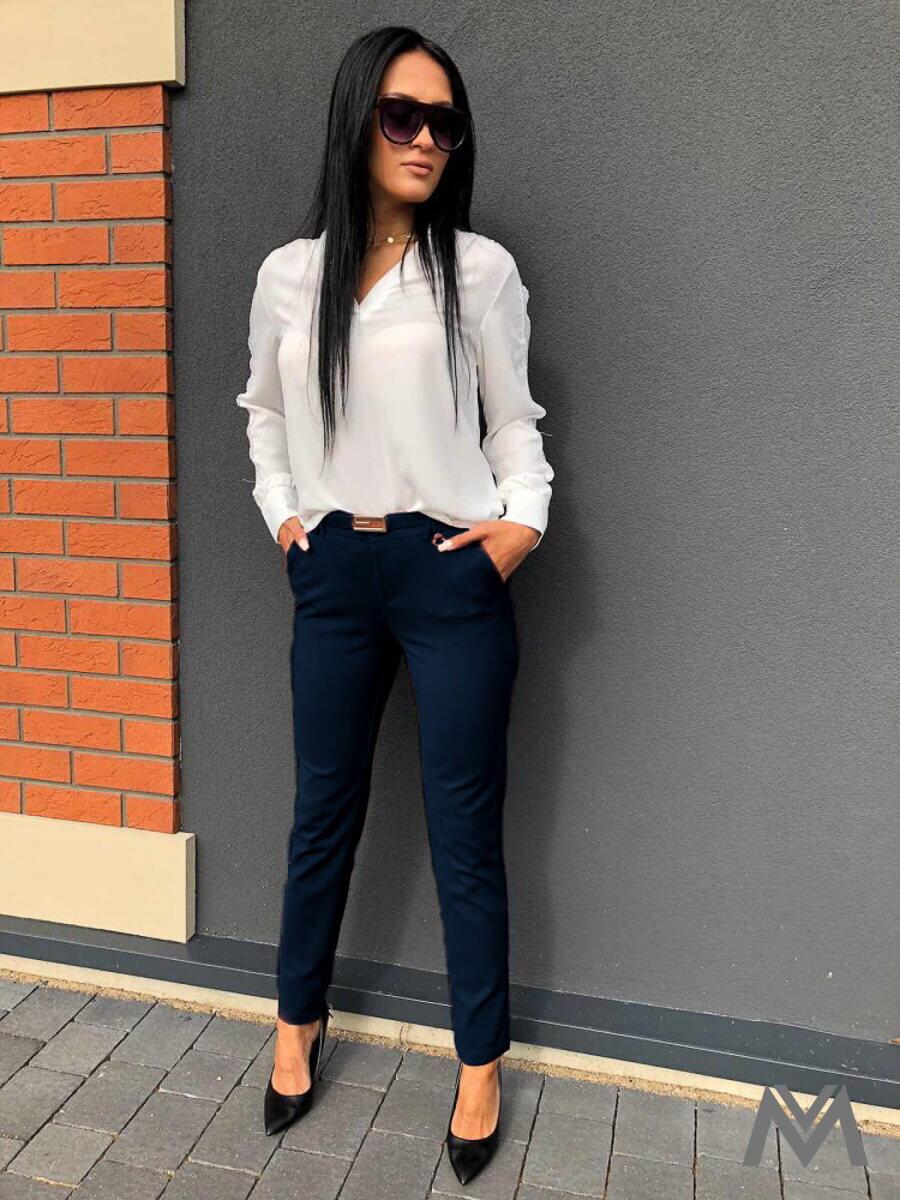 83d99e07f2c6 Elegantné dámske nohavice tmavomodré H8920