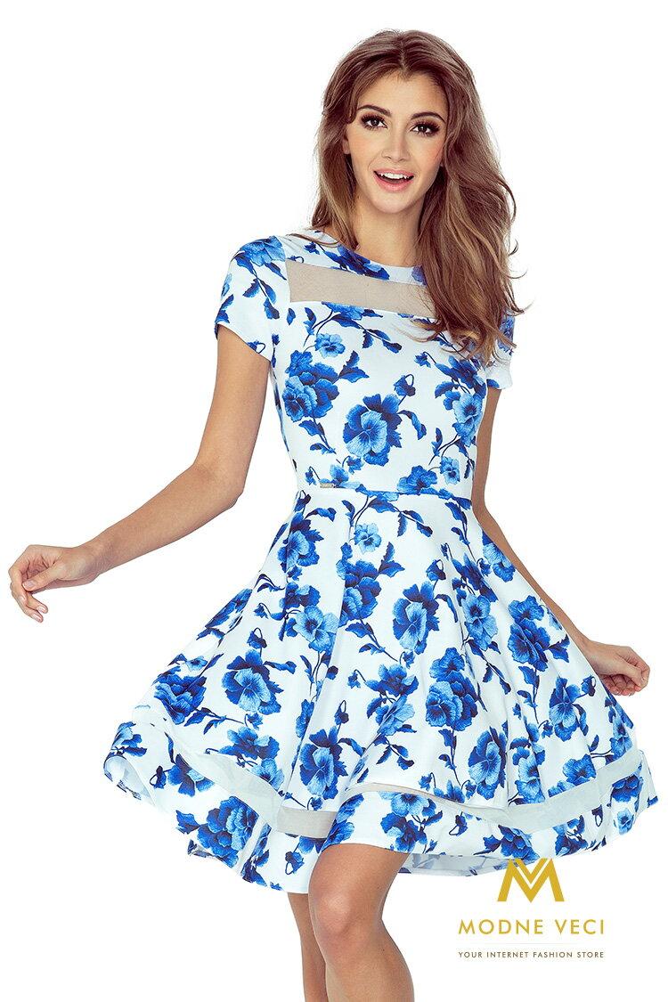 89d1f938df6c Midi šaty s pruhmi - biele s modrými kvetmi 003-3