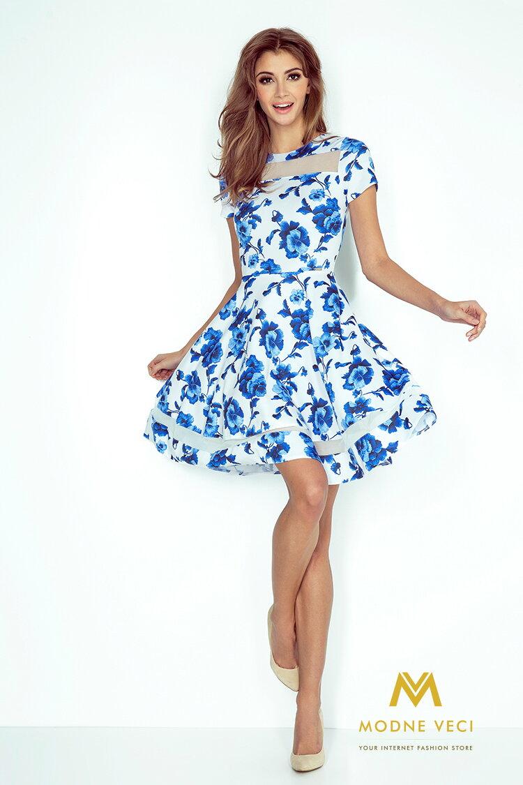 Midi šaty s pruhmi - biele s modrými kvetmi 003-3 d9e15002388