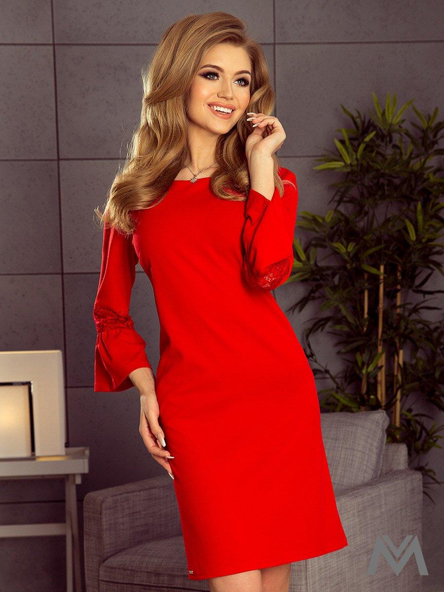 4ce1333655e Dámske šaty s rozšíreným rukávom Margaret 190-3 červené