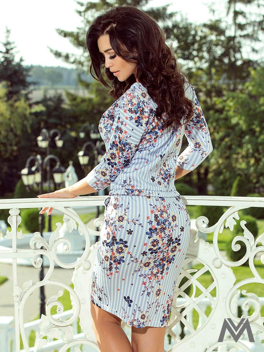 66727e4ba48f Dámske voľnočasové šaty 13-93 modré kvetinové ...