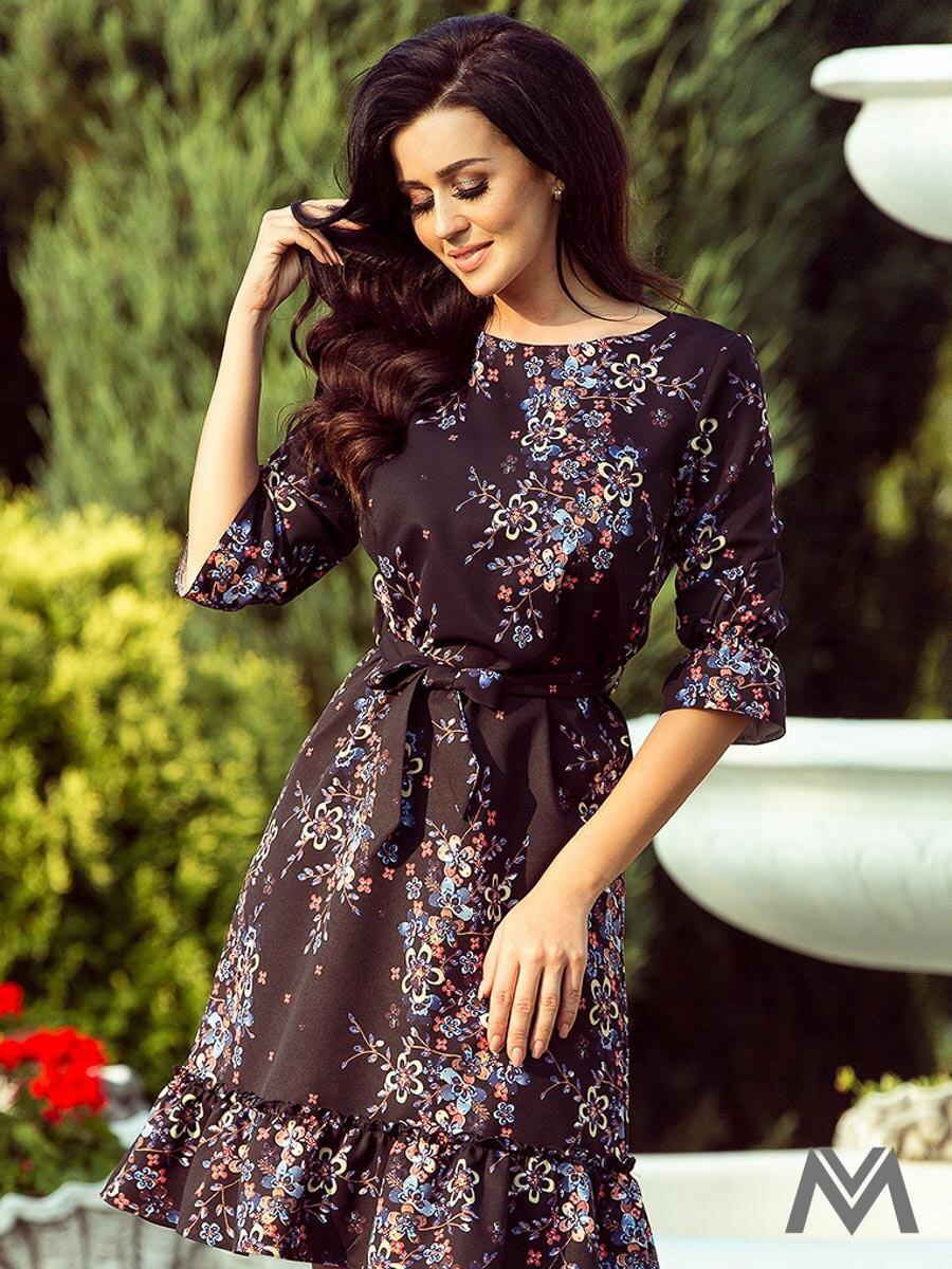 Dámske čierne šaty MAYA 193-5 s volánom  7fd09339529