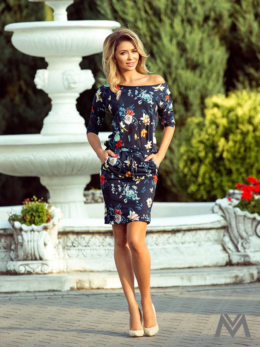 3406ae5543ce Dámske kvetinové šaty 13-91 tmavomodré ...