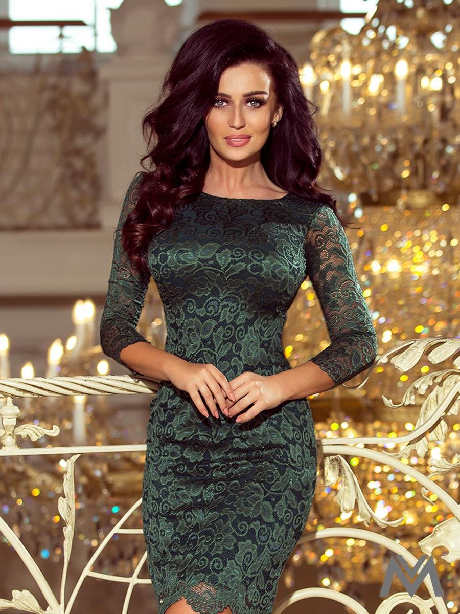 1a2804c30 Čipkované šaty v tmavozelenej farbe 180-3 | ModneVeci.sk