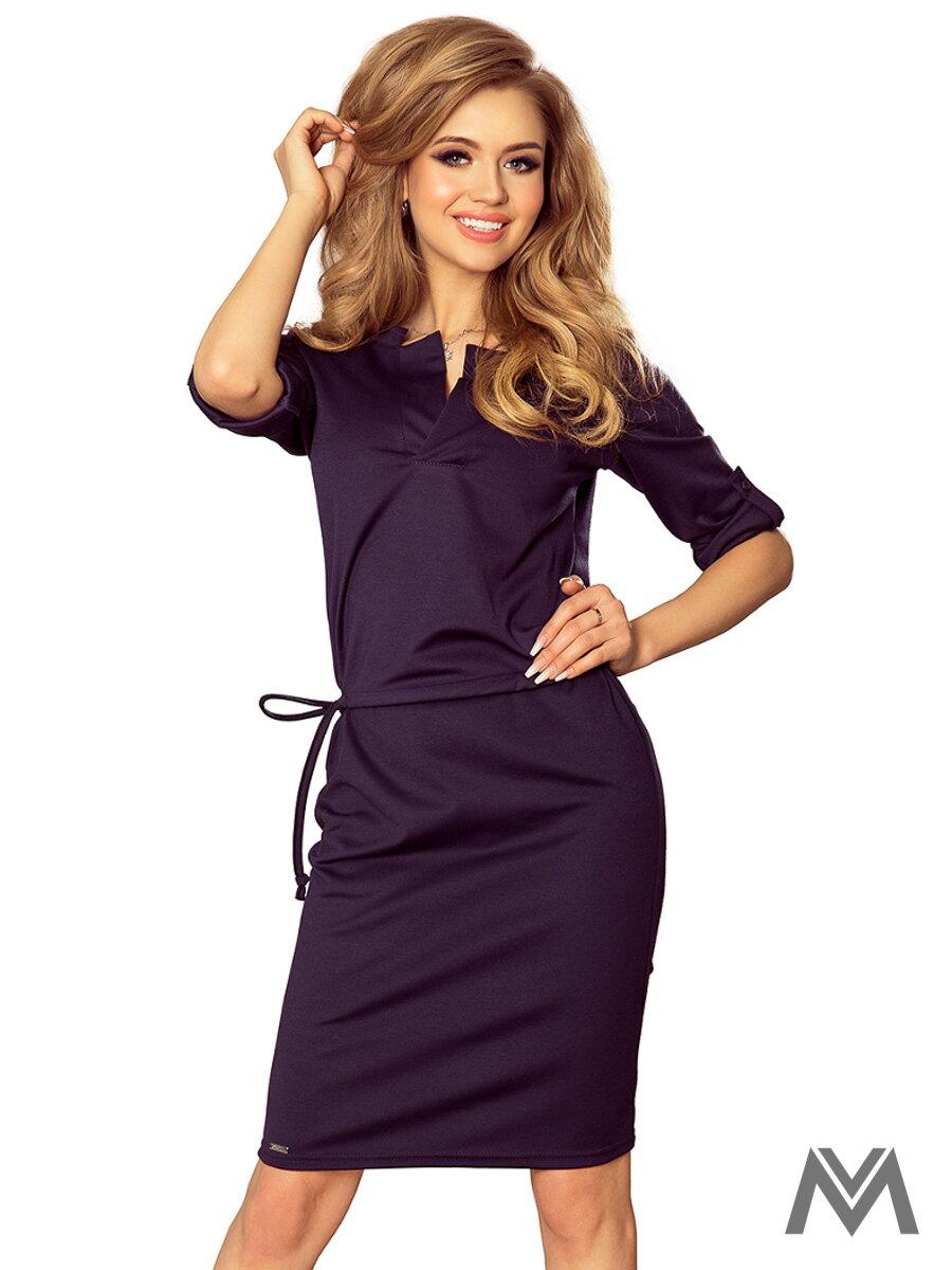 59b2118404d2 Dámske šaty v tmavomoderej farbe AGATA 161-5 ...