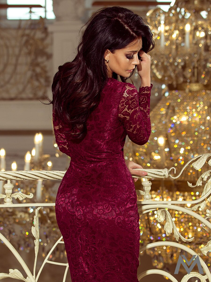 2f0d3b70e392 Čipkované dámske šaty 170-5 bordo ...