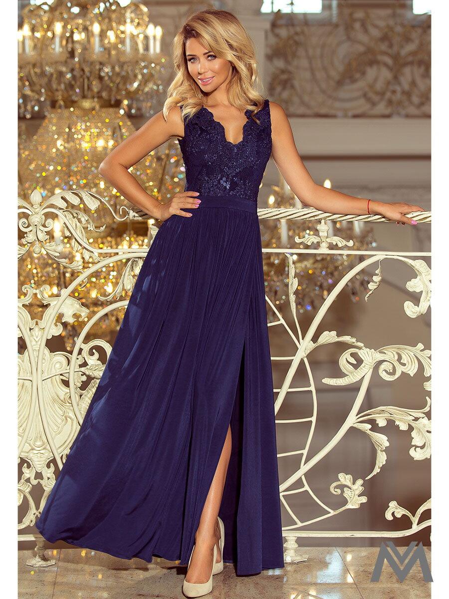 Dlhé dámske šaty bez rukávov 215-2 tmavomodré  38ca3520825