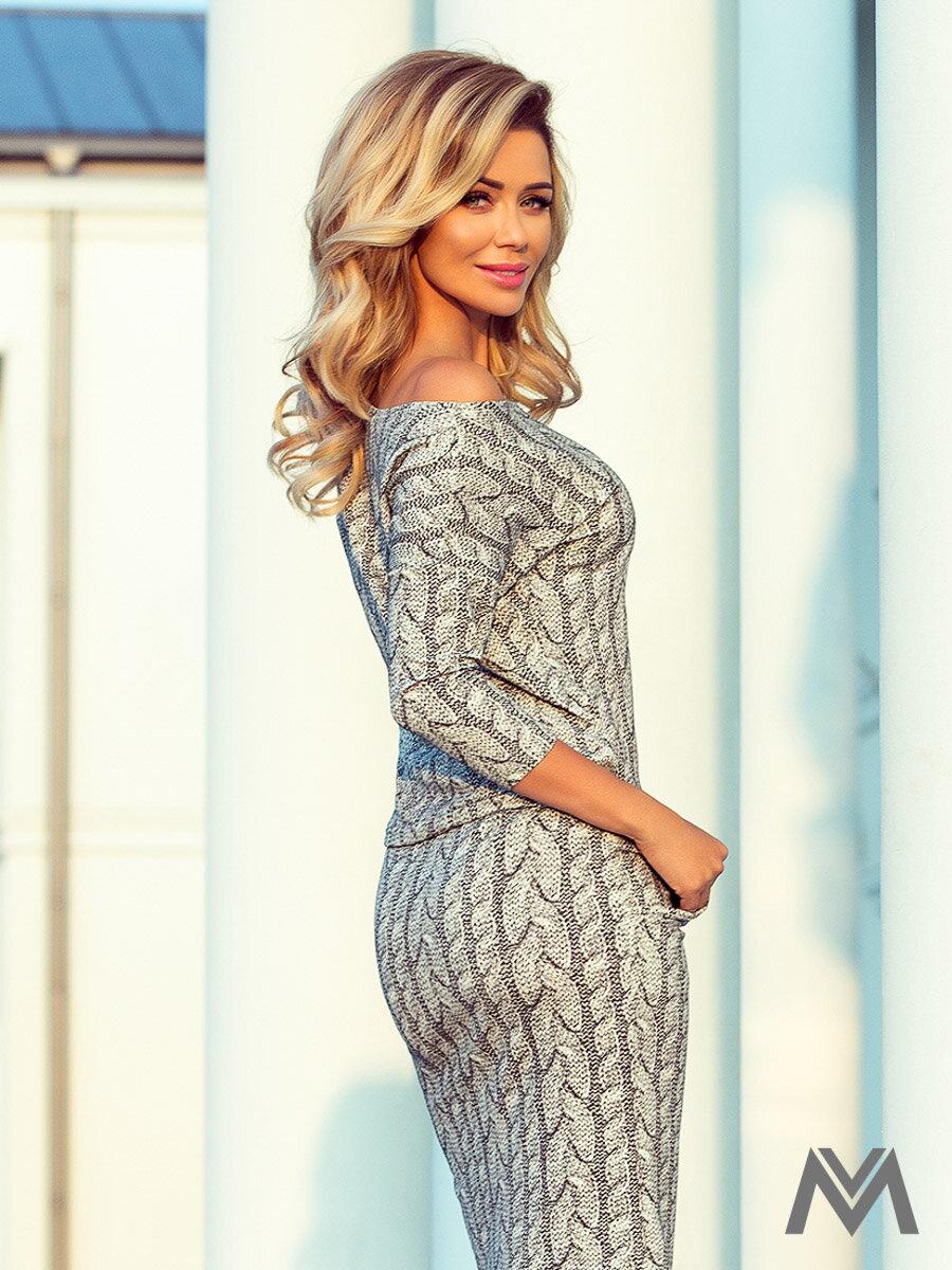 Športovo-elegantné šaty s lodičkovým výstrihom 13-88 vzor pleteniny letné  šaty 4ca6abcb9e2