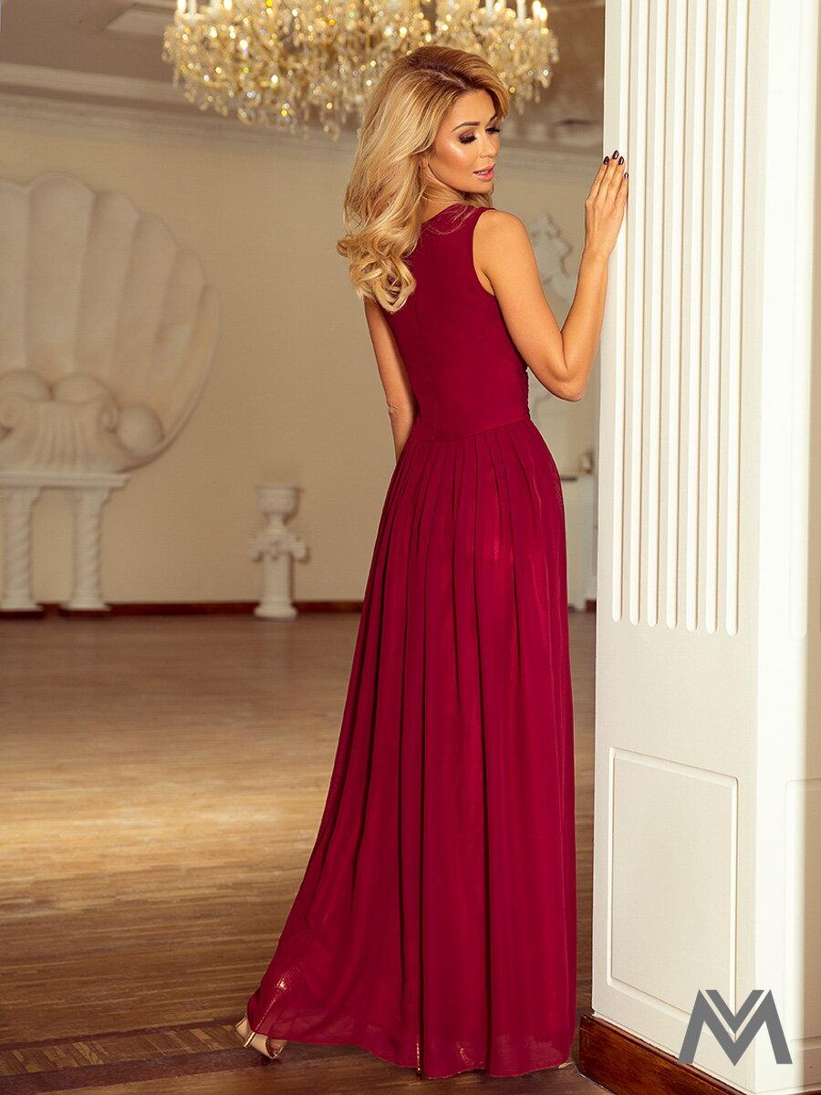 8406f9c48d8 Dlhé večerné šifonové šaty 166-4 bordo dámske šaty
