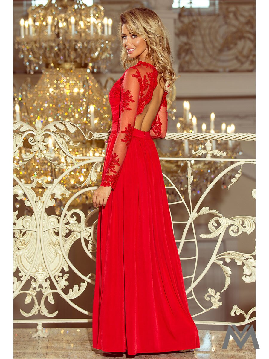 ba87a16b8c7b Dlhé dámske šaty s čipkou 213-3 červené ...
