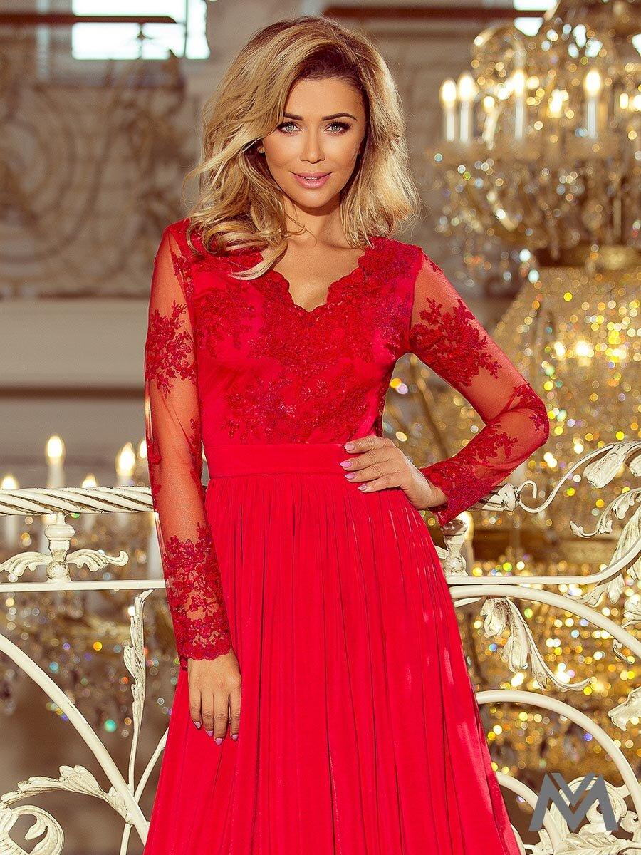 e88695a811a6 Dlhé dámske šaty s čipkou 213-3 červené ...